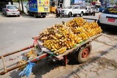 Banana da vendere sulla via a Mandalay, Myanmar Fotografie Stock Libere da Diritti