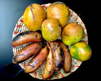 A banana das manga e do Kerala frutifica na placa de madeira foto de stock