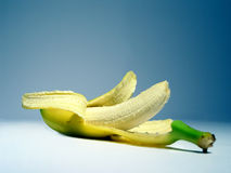 Banana Delicious. A shot of a Banana on the blue background Stock Images