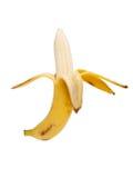 Banana descascada isolada no branco Fotografia de Stock Royalty Free