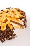Banana dessert cake with dark chocolate topping Stock Images
