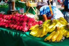 Banana and dragon fruit At the market stock images