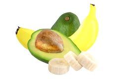 Banana e abacate isolados Fotografia de Stock