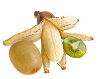 Banana e kiwi su un bianco Fotografie Stock