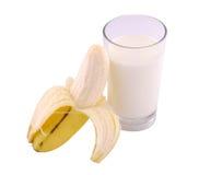 Banana e latte Immagini Stock
