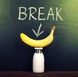 Banana e leite Imagens de Stock Royalty Free
