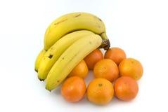 Banana e mandarino. Fotos de Stock Royalty Free