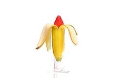 Banana e morango Imagem de Stock Royalty Free