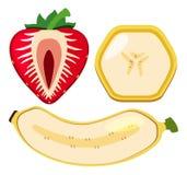 Banana e morango cortadas ao meio ilustração royalty free