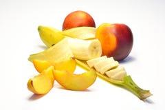 Banana e pêssego Imagem de Stock