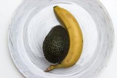 Banana ed avocado Fotografie Stock
