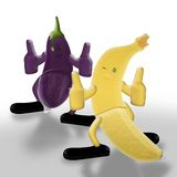 Banana, Eggplant and Hot Night. Safe sex concept,3d&computer generated Stock Photography