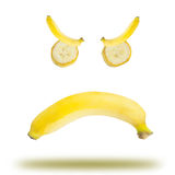 Banana emotional. Abstract banana emotional symbol angry stock photos