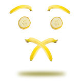 Banana emotional. Symbol quieton white background stock photography