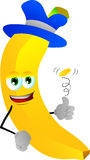 Banana flipping a coin Stock Images