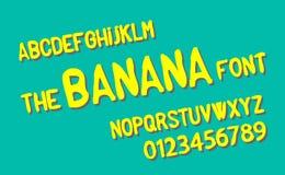 The banana font Flaches Design des Vektoralphabetes Stockfoto