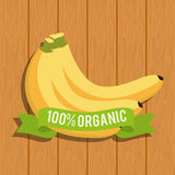 Banana food organic over wooden. Illustration eps 10 Stock Photo