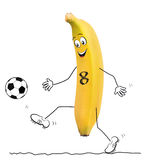 Banana with football Royalty Free Stock Images