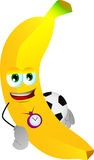Banana with football or soccer ball Royalty Free Stock Images