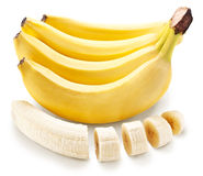Banana fruit with banana pieces on a white background. Stock Photo