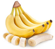 Banana fruit with banana pieces on a white background. Banana fruit with banana pieces. File contains clipping paths stock image