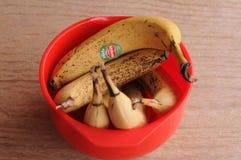 BANANA FRUIT IN BAWL. Copenhagen / Denmark, 24.FEB 2018_ Banana fruits in a plastic bawl. .Photo by Francis Joseph Dean/Deanpictures stock image