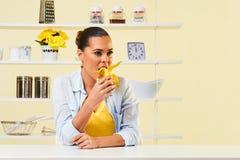 Banana fruit eating snack yellow health healthy diet peel split Stock Photos