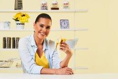 Banana fruit eating snack yellow health healthy diet peel split Stock Images