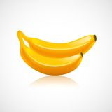 Banana fruit icon. With reflection in glossy style vector illustration Royalty Free Stock Images