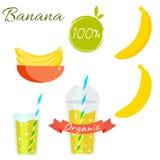 Banana fruit and juice vector set Royalty Free Stock Photo