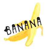 Banana fruit label and sticker. Vector illustration in watercolor style, for graphic and web design Royalty Free Stock Images