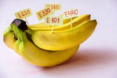 Banana Fruit with natural E additives. Healthy food concept royalty free stock images