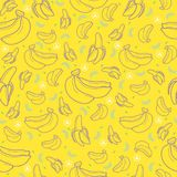 Banana fruit seamless summer pattern background vector format. For wrapping paper or fabric textile Royalty Free Stock Photo