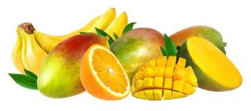 Banana, fruto da manga e laranja isolados Fotos de Stock Royalty Free