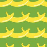 Banana geometric seamless pattern retro style on green background. Wrapping paper, gift card, poster, banner design. Home decor, stock illustration
