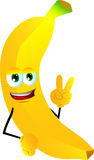 Banana gesturing the peace sign Stock Photography