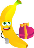 Banana with gift for Valentines Day Royalty Free Stock Photo