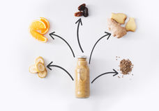 Banana and ginger detox juice ingredients isolated on white background Stock Photo