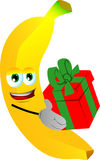Banana giving you a gift box Royalty Free Stock Photography