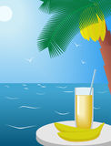 Banana and a glass of juice. Stock Images