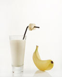 Banana and Glass of Milk Royalty Free Stock Photo
