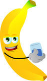 Banana with a glass of water Royalty Free Stock Photos