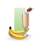 Banana  in goblet of juice, cocktail, smoothie Stock Image