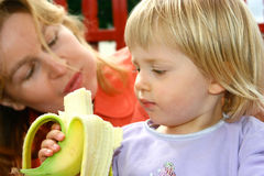 Banana is good for growing up Stock Photo