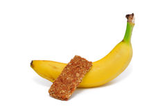 Banana and Granola Bar Stock Images