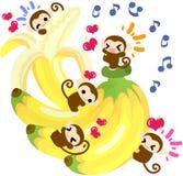 Banana graziosa del gigante delle scimmie Immagine Stock Libera da Diritti