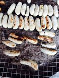Banana grill Thai dessert Stock Images