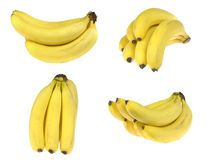 banana Grupo de bananas maduras, isolado no fundo branco imagem de stock royalty free