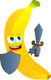 Banana guard with shield and sword Royalty Free Stock Images
