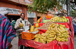 Banana, guava and other exotic fruits sold by the street seller Stock Images